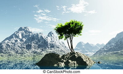 mountain lake in Alps with tree at rocky island