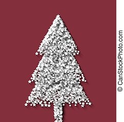 Tree fir xmas on red backdrop made from white hoarfrost particles