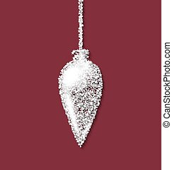Christmas tree icicle red backdrop made from white hoarfrost particles
