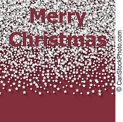 Lettering Merry Christmas on red backdrop white snow particles