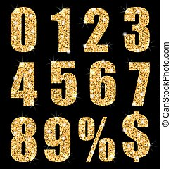 Set collection digits symbol, golden texture - vector