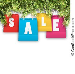 Abstract Background with Christmas Shopping Sale Bags