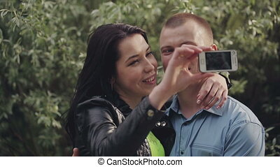 Couple Making a Selfie in Nature