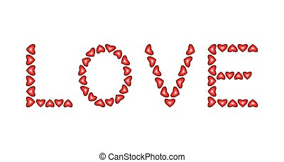 Word Love made from hearts