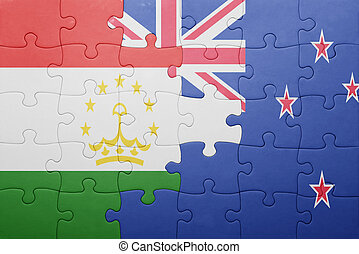 puzzle with the national flag of tajikistan and new zealand...