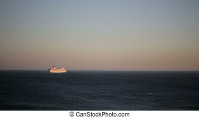 Atlantic liner at Portugal coast lisbon. Sunset ocean. -...