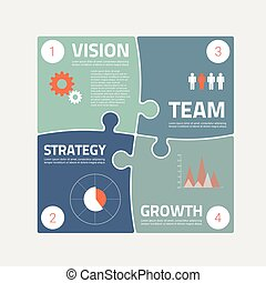 Puzzle piece infographics business concept vector