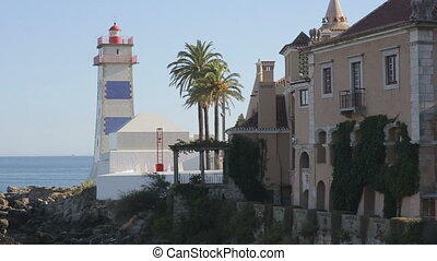Lighthouse of cascais portugal Europe, ocean coastline -...
