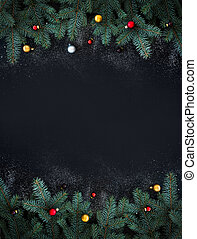 Christmas or New Year decoration background: fur-tree...
