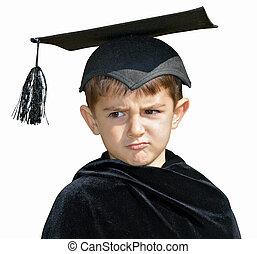 Kid graduate with graduation cap - Frowning graduate boy on...