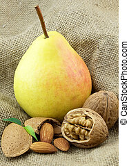 Ripe pear with sweet nuts