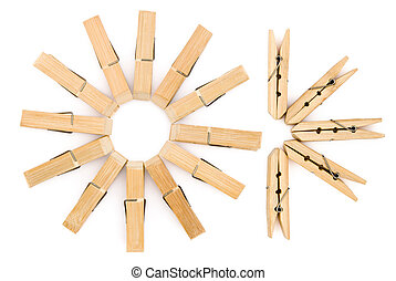 clothespins line up with clipping path