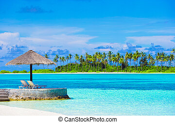 Beautiful tropical view of perfect ideal island in Indian...