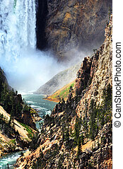 Bottom of Lower Falls in Yellowstone National Park has...