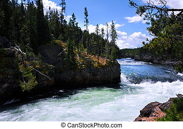 Brink of Upper Falls in Yellowstone - Yellowstone River...