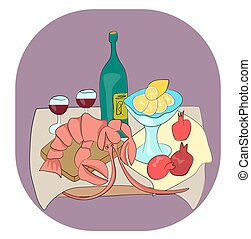 Lobster with wine still life - Lobster with wine, lemon and...