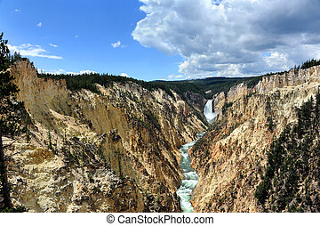Canyon Walls and Lower Falls - Vista shows the Grand Canyon...