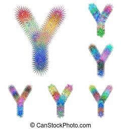 Happy colorful fractal font set - letter Y