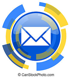 email blue yellow glossy web icon