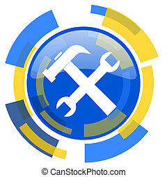 tool blue yellow glossy web icon