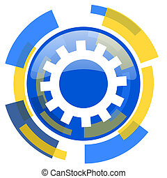 gear blue yellow glossy web icon