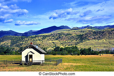 One Room School House - Tiny one room school house sits on...
