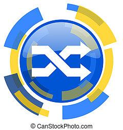 aleatory blue yellow glossy web icon