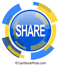 share blue yellow glossy web icon