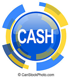 cash blue yellow glossy web icon