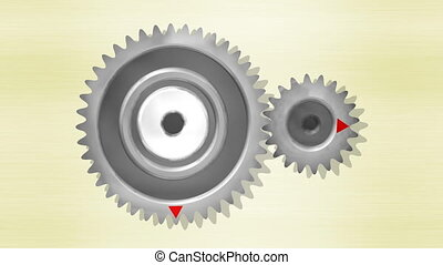 Gears with 40 and 20 teeth, double acceleration, 4k UHD