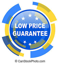 low price guarantee blue yellow glossy web icon