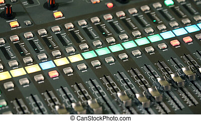 mixing console of a complicated system hi fi during rock...