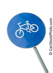 Bicycle lane sign on a pole