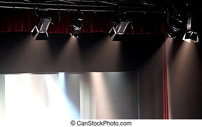 powerful light projectors in theater stage