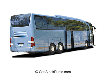 transportation bus - a touristic blue bus on the road rready...