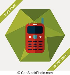 Mobile phone flat icon with long shadow,eps10
