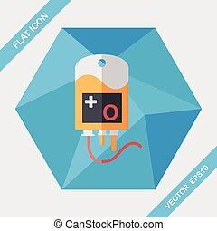 IV bag flat icon with long shadow, eps10