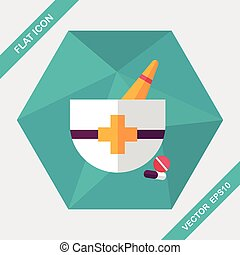 mortar and pestle flat icon with long shadow,eps10