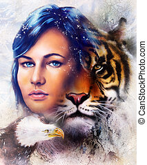 painting of a tiger and eagle head and woman goddess...