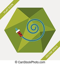 party horn flat icon with long shadow,eps10
