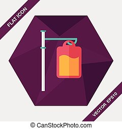 IV bag flat icon with long shadow,eps10