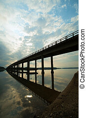 Large road bridge over Palmar reservoir, Uruguay