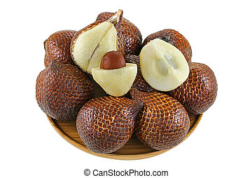 Tropical fruit named Salak - A wooden bowl full of Tropical...