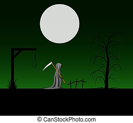 Grim reaper with scythe in cemetery - Spooky background with...