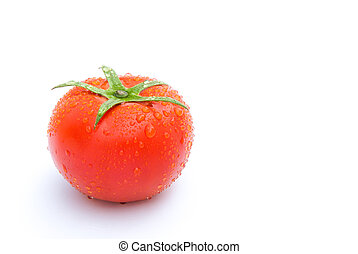 fresh tomatoes on white with copy space