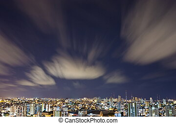 Salvador City at Night - Aerial Night view of Salvador -...