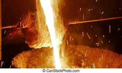 Molten metal melted at metallurgical plant - Molten metal...
