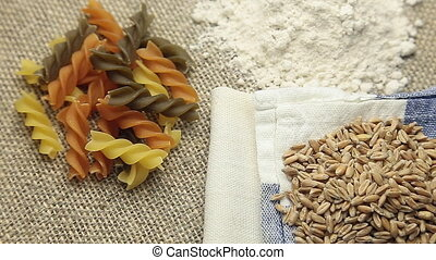 Rotate Pasta, flour and wheat - Rotate Pasta flour and wheat...