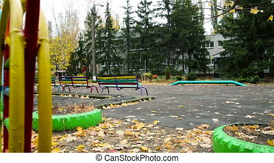 Children's Playground in Autumn. The Horizontal Passage...