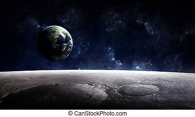 High Resolution Planet Earth view from the moon surface...